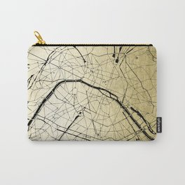 Paris France Minimal Street Map - Gold on Black Carry-All Pouch