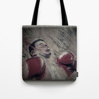 boxing Tote Bags featuring boxing by aaron ebanks