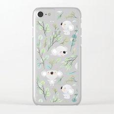 Koala and Eucalyptus Pattern Clear iPhone Case