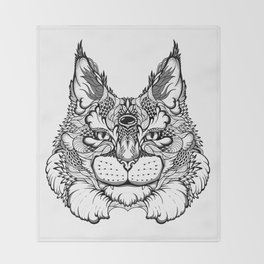 CAT maine coon  / LYNX head. psychedelic / zentangle style Throw Blanket