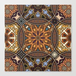 Vintage patchwork with floral mandala elements Canvas Print