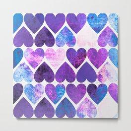 Mod Purple & Blue Grungy Hearts Design Metal Print