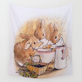Peter Rabbit with his parents Wall Tapestry