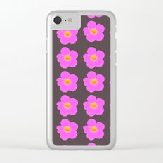 Tiny pink retro flowers on a dark grey background - #Society6 #buyart Clear iPhone Case