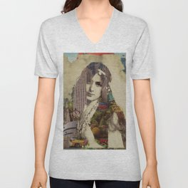 Vintage Woman Built By New York City 1 Unisex V-Neck