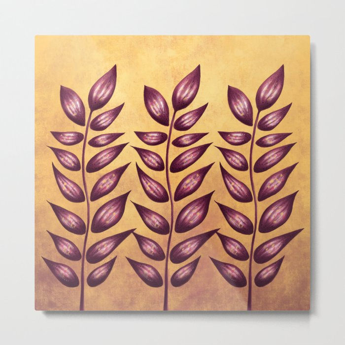 Abstract Plant With Purple Leaves Metal Print