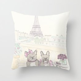 French Bulldogs and Tea in Paris with Eiffel Tower View Throw Pillow
