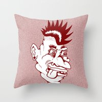 punk Throw Pillows featuring Punk by Adam Metzner