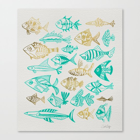 Inked Fish – Turquoise & Gold Canvas Print