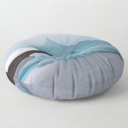 Big blue iceberg in front of a glacier Floor Pillow