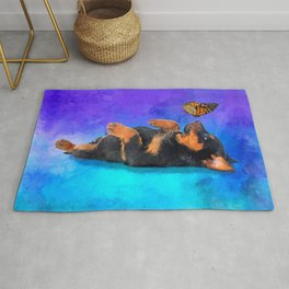 Cute Rottweiler Puppy with butterfly Rug