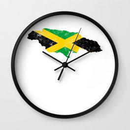 Jamaica Flag design distressed vintage Wall Clock