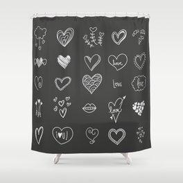 Hand drawn hearts Shower Curtain