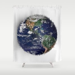 Frayed blue planet Shower Curtain