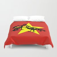 vietnam Duvet Covers featuring Vietnam Flag, Roosters Sparring by mailboxdisco