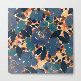 Watercolor blue orange gold brown autunmm fall floral Metal Print