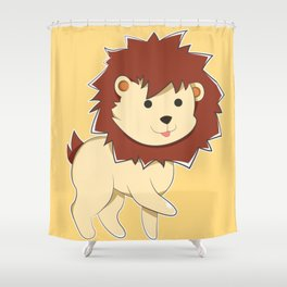 Happy Cartoon Baby Lion Shower Curtain