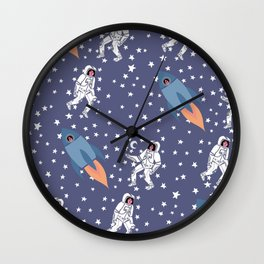 Astronaut Space Lady pattern of Galaxy, Stars, Cosmic, Rocket Wall Clock