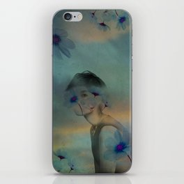 Woman hidden in a world of flowers iPhone Skin