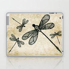 Dragonflies on tan texture Laptop & iPad Skin