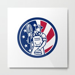 American Professional Cleaner USA Flag Icon Metal Print