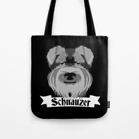 schnauzer Tote Bags featuring Schnauzer by mailboxdisco