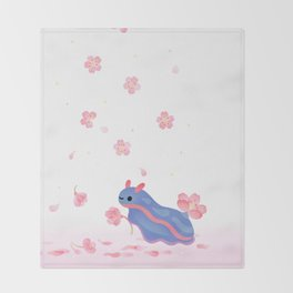 Cherry blossom slug Throw Blanket