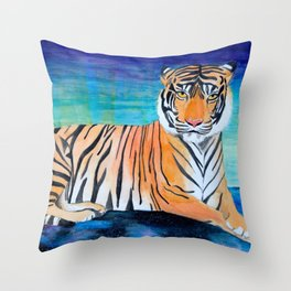 Tiger in the Stars Watercolor Throw Pillow