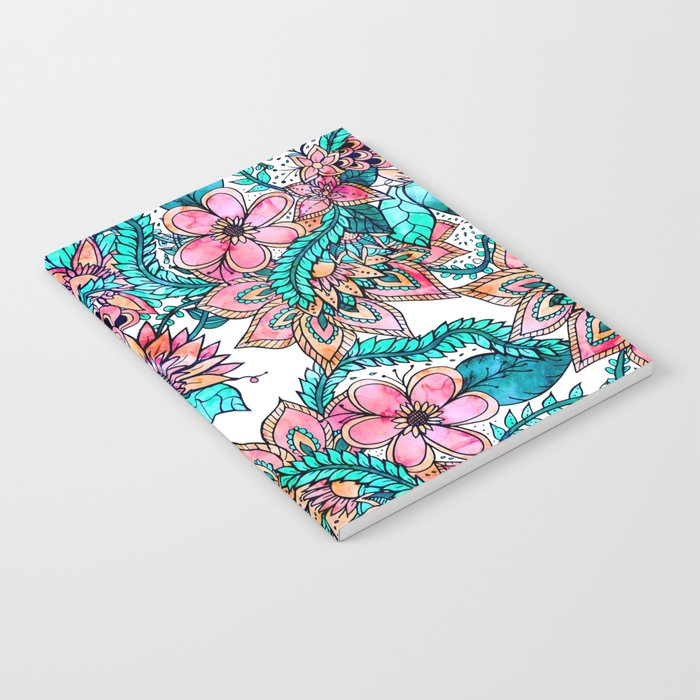 Boho turquoise pink floral watercolor illustration Notebook