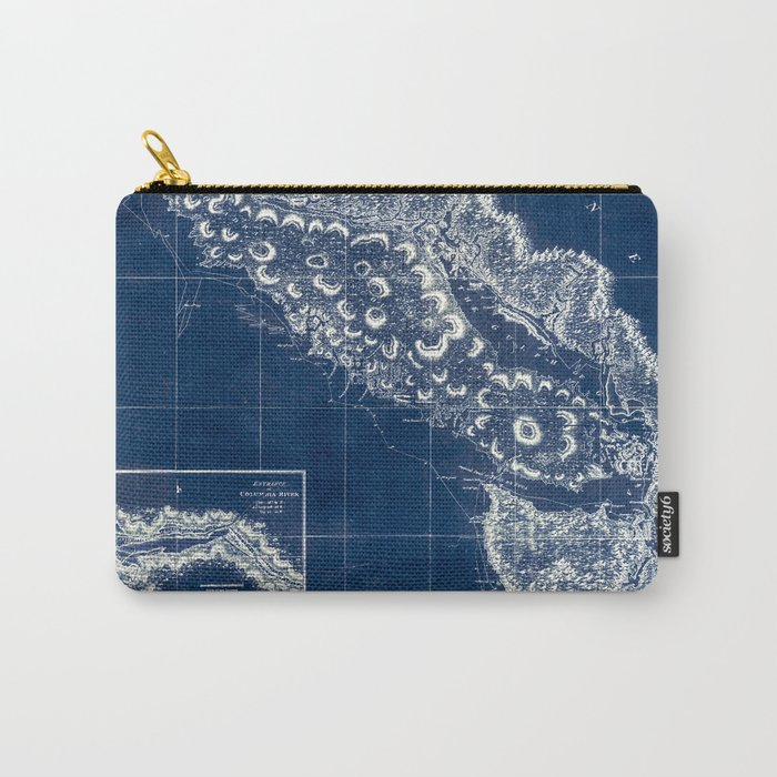 Vintage Blueprint of PNW Carry-All Pouch