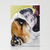 english bulldog Stationery Cards featuring English Bulldog  by WOOF Factory