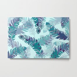 Feather turquoise pattern design Metal Print