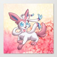 sylveon Canvas Prints featuring Sylveon by Jelecy