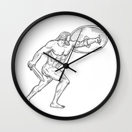 Heracles With Shield and Sword Drawing Black and White Wall Clock