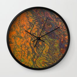 Dirty Acrylic Pour Painting 16, Fluid Art Reproduction Abstract Artwork Wall Clock
