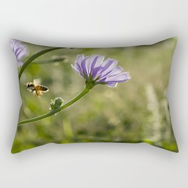 Bee flying on the Chicory flower. Rectangular Pillow