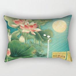 Chinese Lotus Full Moon Garden :: Fine Art Collage Rectangular Pillow