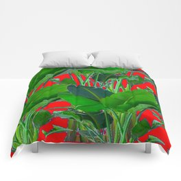 DECORATIVE RED & GREEN TROPICAL FOLIAGE ART Comforters