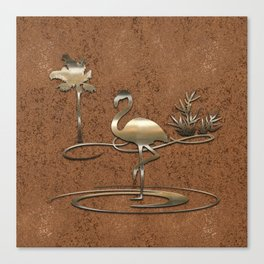 Flamingo in Gold Canvas Print