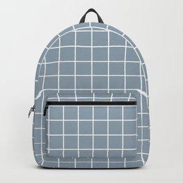 Cadet grey - grey color - White Lines Grid Pattern Backpack