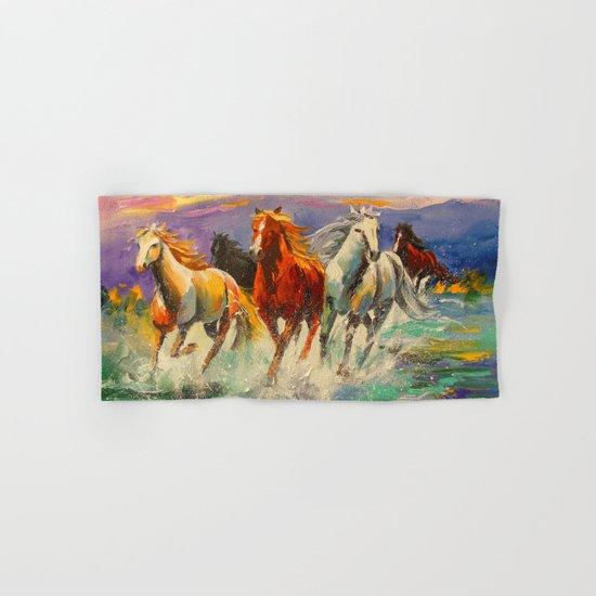 A herd of horses Hand & Bath Towel