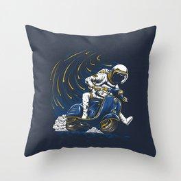 Astronaut Riding Vespa Hand Drawn Throw Pillow