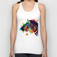zebra Tank Tops featuring ZEBRA by mark ashkenazi
