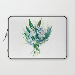 Lilies of the Valley, floral bouquet art,design spring flowers turquoise green white sky blue floral Laptop Sleeve