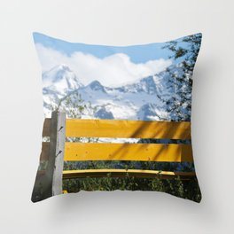 Bench and Mountain Landscape Throw Pillow