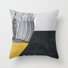Streetart in Gray and Ochre Throw Pillow