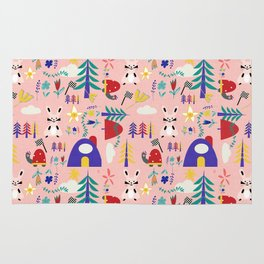Tortoise and the Hare is one of Aesop Fables pink Rug