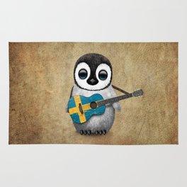 Baby Penguin Playing Swedish Flag Guitar Rug