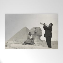 Louis Armstrong at the Spinx and Egyptian Pyrimids Vintage black and white photography / photographs Welcome Mat