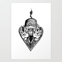 fez Art Prints featuring Mystic Fez by Sam Stewart